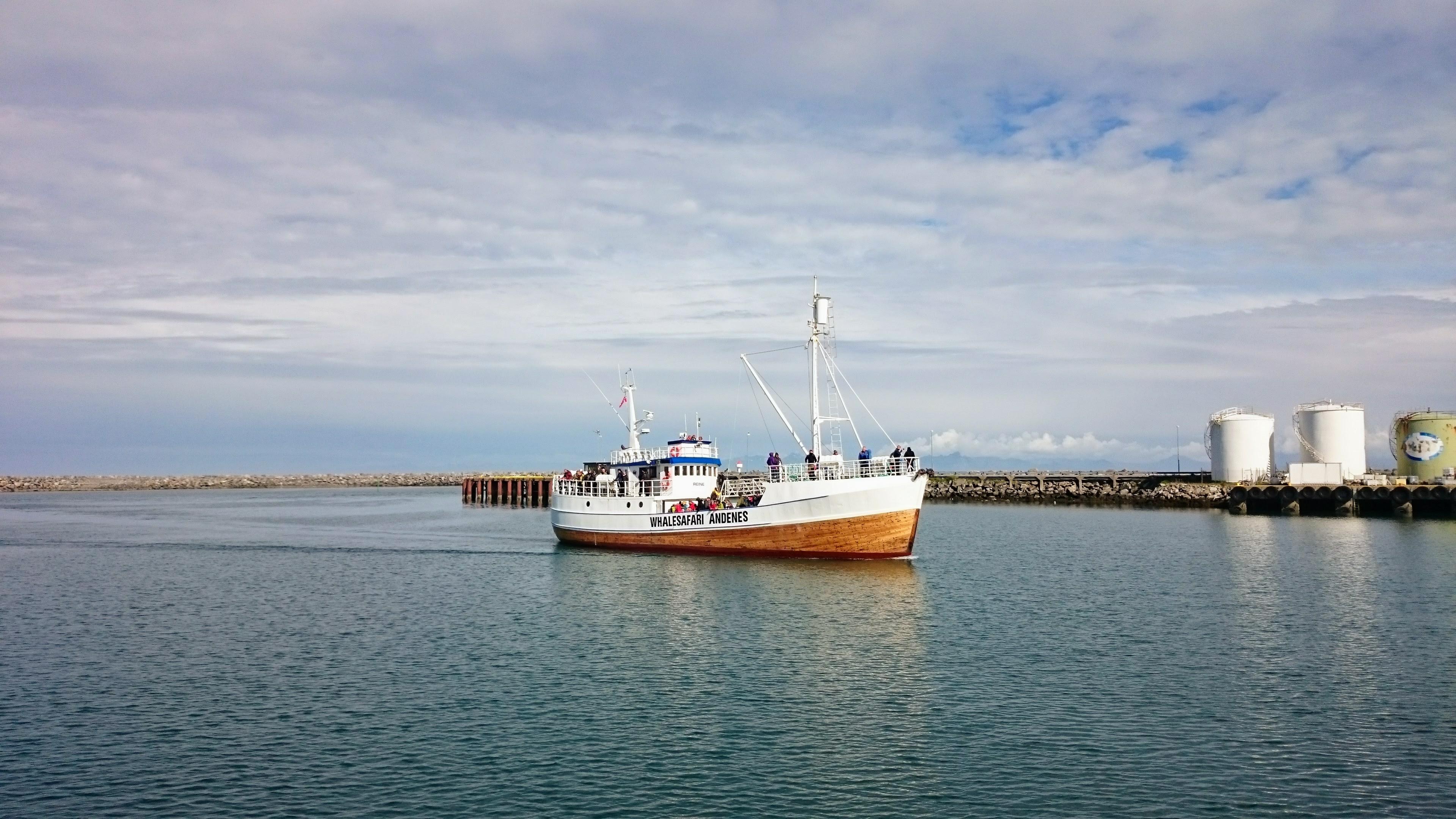 S touhle lodí jsme jeli pozorovat velryby