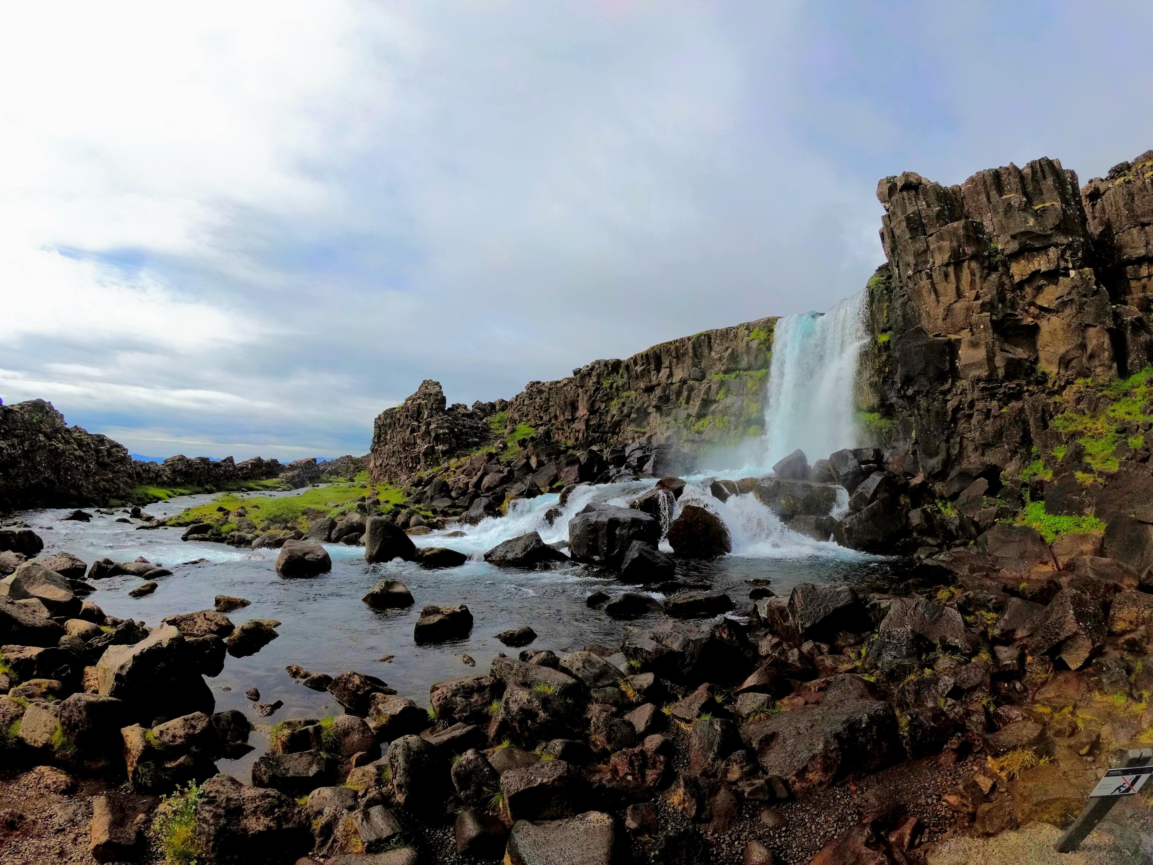 Vodopád Öxarárfoss, národní park Þingvellir