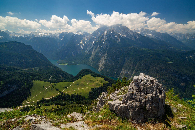 Pohled z vrcholu Jenner na jezero Königsee
