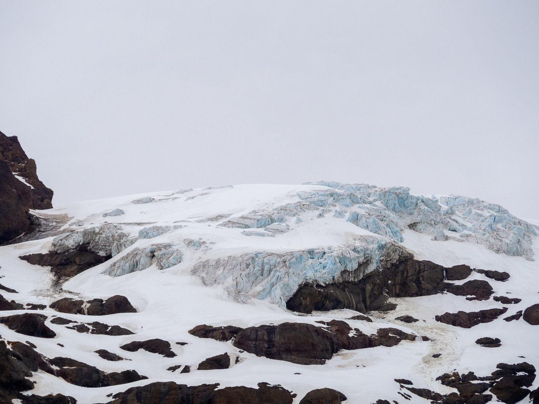 Ledovec na hoře Sierra Velluda